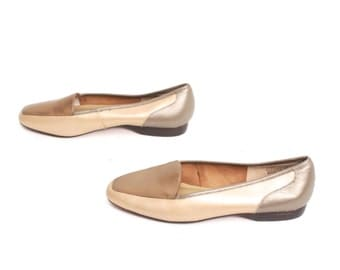 size 7 METALLIC gold bronze leather 80s OXFORD slip on flats
