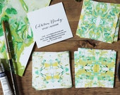 Calling Cards / Business Cards / Blogger Cards Tiled Marble Chartreuse and Emerald - Set (50) / Watercolor / Painted / Brushstroke
