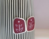 Long Burgundy Earrings - Marsala Maroon Wine Resin Earrings - Gift for Christmas - Graphico Fiore