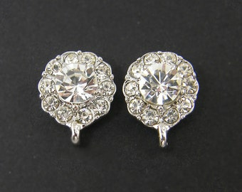 Clear Rhinestone Earring Posts Silver Bridal Earring Findings Wedding Jewelry Supply |S2-1|2