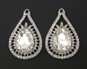 Clear Rhinestone Teardrop Bridal Earring Finding Wedding Jewelry Large Chandelier Crystal Wedding Jewelry Supply  S4-13 2