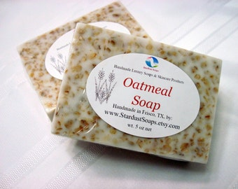 Oatmeal Soap (handmade, gentle exfoliation, soothing, moisturizing, lather, for sensitive skin, Stardust Soaps)