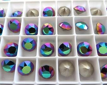 12 Scarabaeus Green Foiled Swarovski Crystal Chaton Stone 1088 39ss 8mm