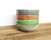 Stoneware Pottery Bowls Set of 4 - Ceramic Soup Bowls - 4 Assorted Glazes