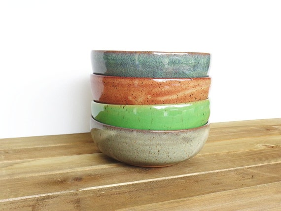 Stoneware Pottery Bowls Set of 4 - Ceramic Soup Bowls - 4 Assorted Glazes