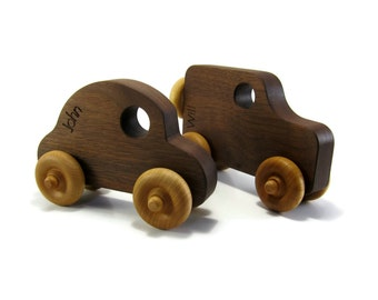 2 Wood Toy Cars - Personalized Wood Toy - Toy Truck - Toy SUV - Beetle Car - Wooden Kids Toy - Natural Wood Toy