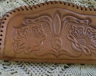 Vintage Hand Tooled leather Clutch Purse from Yellowstone Park