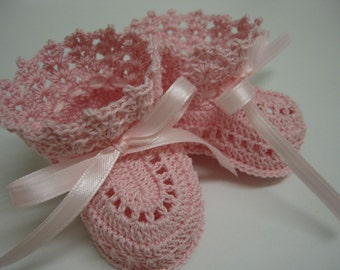 Crochet Baby Booties  Pink Newborn Baby Girl or Reborn Doll
