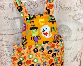 Frankenstien Ghost Halloween Orange Gender Neutral Romper Sz 6-12mo