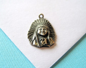 Sterling Silver Indian Child Headdress Charm