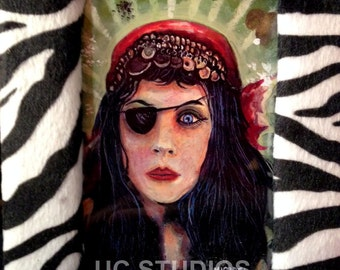 Pinup Gypsy with Eyepatch Print in Soft Padded Leopard Frame
