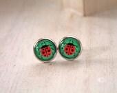 Ladybug earrings sweet lolita feminine studs insect bug red green nature