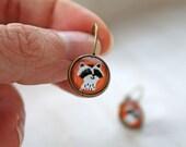 Raccoon leverback earrings sweet lolita feminine cute animal orange nature