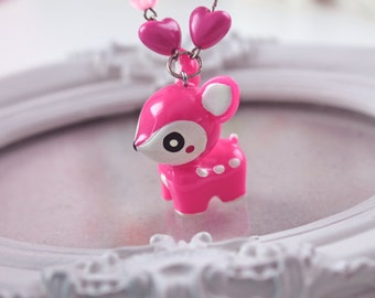 SALE Pink  Deer Kawaii Necklace with  pink  beads Gothic Lolita fuschia