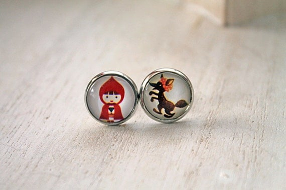 Little red Riding Hood Big Bad Wolf earrings sweet lolita feminine studs