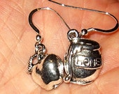 Honey Pot apple charm earrings Rosh HaShannah apples and honey for a sweet Jewish New Year -- select your style