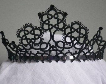 Tatted lace tiara headpiece for wedding, prom, costume, quinceanera, just for fun! tatting jewelry, handmade lace, original design
