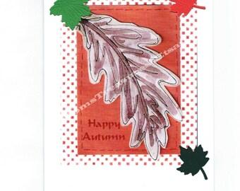 Blank 4 x 6 Handmade Fall Autumn Note Card Thanksgiving,  Fall - No. 13