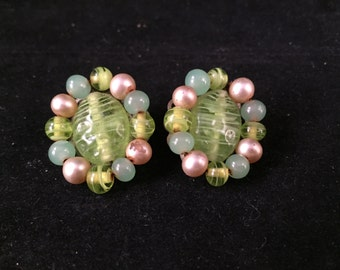 Pair of Vintage Green Bead Clip On Earrings