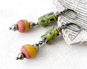 African Trade Bead Earrings Ethnic Boho Jewelry For Women