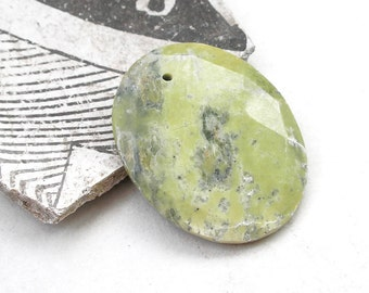 Serpentine Pendant- Yellow Green Faceted Gemstone Pendant- 50mm x 40mm Lemon Jade Oval- For Jewelry Making
