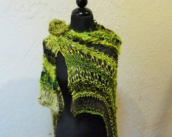 Hand Knitted Shawl The Greens