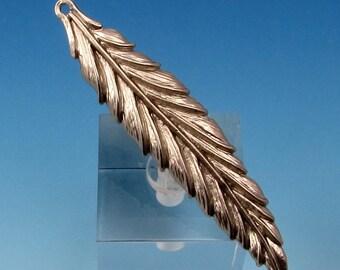 Feather Pendant, Matte Silver Rhodium AS348