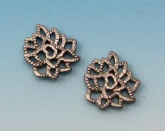 Matte Silver Rhodium Tiny Lotus Charm, 2 Pieces, AS350