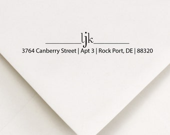 Return Address Stamp - Initials Stamp - LJK Design