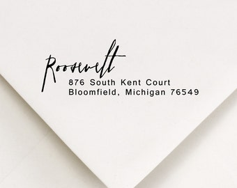 Address Stamp, Return Address Stamp, Personalized Address, Return Address, Gift, Self Inking Stamp, Rubber Stamp, Roosevelt Design