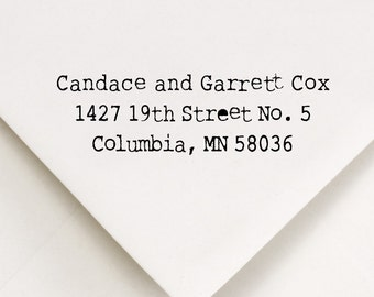 Address Stamp, Return Address Stamp, Self Inking Stamp, Typewriter Font, Custom Rubber Stamp, Gift For Couple, Candace and Garrett