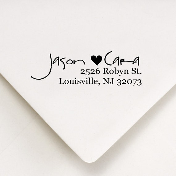 Custom Return Address Stamp - Love Heart Wood Handle Mount or Self Inking - Jason Hearts Cara Design