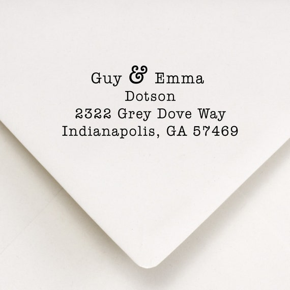 Custom Address Stamp - Ampersand Sign - Typewriter Font - Guy & Emma Design
