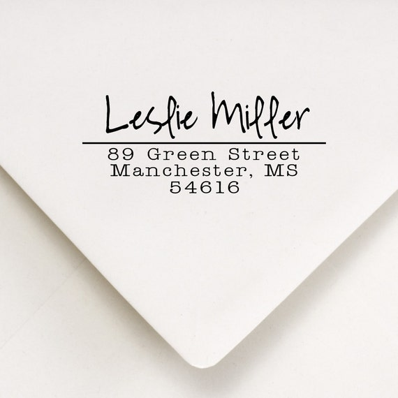 Custom Rubber Address Stamp - Cute Housewarming Gift - Wedding Invitations, Thank You Stamp - Leslie Miller Design