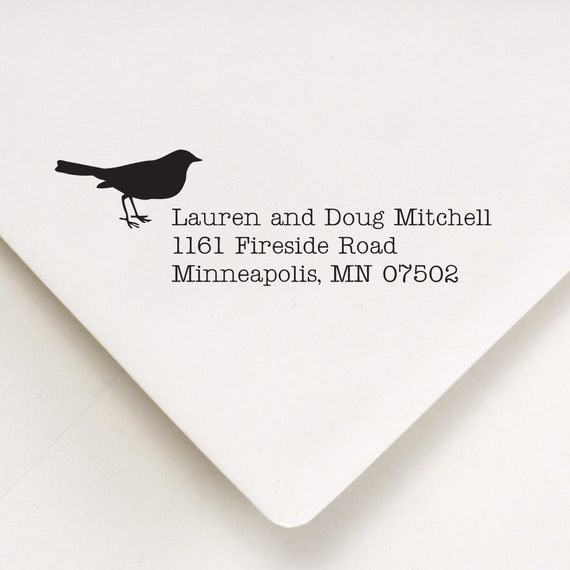 Bird Address Stamp - Self Ink or Wood Handle - Personalized Address Stamper - No. 57