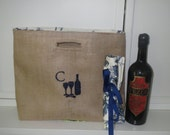 Not Your Usual Wine Bag Made and Ready to Ship Embroidered with the letter C