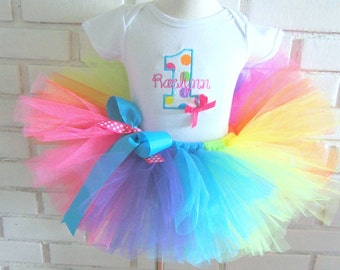 Rainbow Polka Dot Birthday Shirt Tutu with Rainbow Tutu 1st Birthday Set