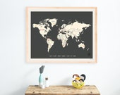World Wall Map, Personalized Travel Map Print, 24x18, Gender Neutral Nursery Wall Decor,Kid's Room,Adventure,Playroo