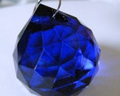 COBALT BLUE glass ball suncatcher ~ Faceted 30mm PRISM lightcatcher ~ Feng Shui - suncatcher - for glass crafting