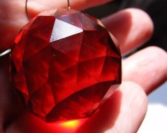 CHERRY RED glass ball suncatcher ~ Faceted 30mm PRISM lightcatcher ~ Feng Shui - suncatcher - for glass crafting