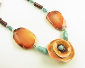 CLEARANCE Ceramic Poppy Necklace with Carnelian Slices