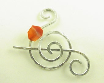Shawl Slide/Brooch/Pin/Clasp Spiral with Carnelian