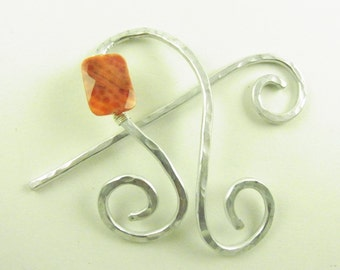 Shawl Slide/Brooch/Pin/Clasp Abstract Note with Fire Agate