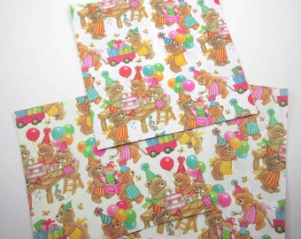 Vintage Children's Wrapping Birthday Paper or Gift Wrap with Cute Bears Presents Toys Cake and Balloons