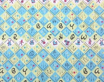 Vintage Baby Shower Wrapping Paper or Gift Wrap with Toys Diamond Design Yellow Blue Set of Four Sheets