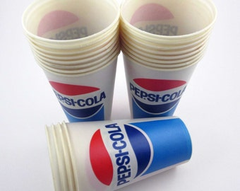 Set of 20 Red White and Blue Pepsi Cola Unused Waxed Paper Cups Deadstock