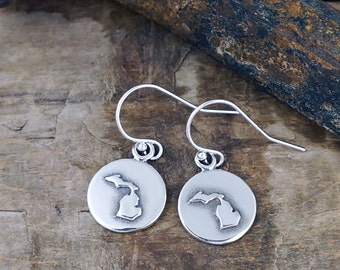 Michigan Earrings - Michigan Jewelry Sterling Silver    #LOC43-er