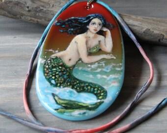 Amazing Mermaid at the beach  - fused glass pendant - mermaid nekclace