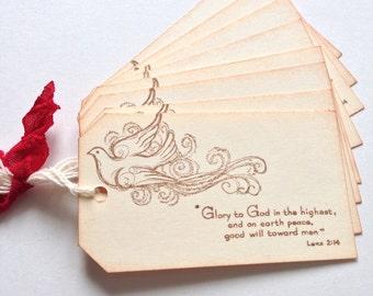 Glory to God Vintage Style Gift Tags - Set Of 8 - Handmade