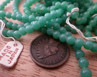 12 Vintage Japanese 4mm Jade Green Glass Beads C37